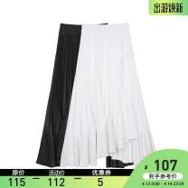 skirt Summer 2021 S, M White, Navy, black longuette Versatile High waist Irregular Solid color Type H VEGA CHANG fold