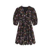 Dress Summer 2021 black S,M,L Mid length dress singleton  elbow sleeve commute V-neck Loose waist Decor Socket Big swing puff sleeve Type A