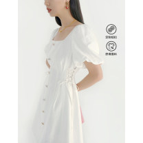 Dress Summer 2021 White, white second batch S,M,L Mid length dress singleton  Short sleeve commute square neck High waist Socket A-line skirt puff sleeve Type A VEGA CHANG Button