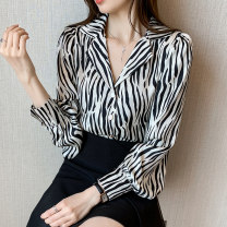 shirt Black and white 2/S,3/M,4/L,5/XL Spring 2021 polyester fiber 96% and above Long sleeves commute Regular tailored collar Single row multi button routine stripe Self cultivation Brother amashsin Ol style 5001-60-002 printing Chiffon
