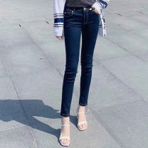 Jeans Spring 2021 blue 1 / XS, 2 / s, 3 / m, 4 / L, 5 / XL trousers High waist Pencil pants routine washing Cotton elastic denim Dark color Brother amashsin 71% (inclusive) - 80% (inclusive)