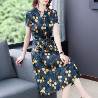 Dress Summer 2021 Red, blue L,XL,2XL,3XL,4XL longuette singleton  Short sleeve commute V-neck High waist Dot Socket A-line skirt routine Others Type A Brother amashsin Bow, tie Z0977 31% (inclusive) - 50% (inclusive) other silk