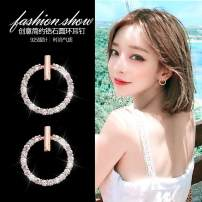 Ear Studs Silver ornaments 51-100 yuan Other / other Rose gold and silver brand new Japan and South Korea female goods in stock Fresh out of the oven Alloy inlaid artificial gem / semi gem D069 925 Silver
