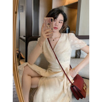 Dress Summer 2020 Beige cut flowers XS,S,M,L Mid length dress singleton  commute V-neck puff sleeve Others 18-24 years old Lace up