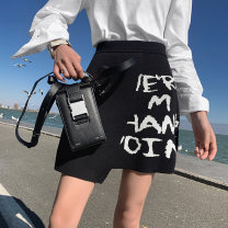 skirt Spring 2021 XS,S,M,L Graffiti letter skirt in stock Short skirt Versatile High waist skirt Solid color Type H 25-29 years old 51% (inclusive) - 70% (inclusive) Aviva On Earth cotton