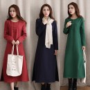 Dress Winter of 2018 Red, green, blue S,M,L,XL,2XL longuette singleton  Long sleeves Sweet Crew neck Loose waist Solid color Three buttons Princess Dress routine Type H Other / other Button 71% (inclusive) - 80% (inclusive) brocade Mori