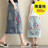 skirt Summer of 2019 L,2XL Light blue, dark blue Mid length dress Retro Natural waist other other Type H 18-24 years old 81% (inclusive) - 90% (inclusive) Denim Other / other cotton