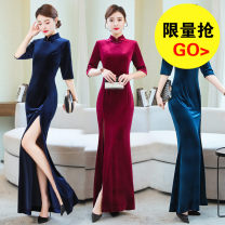 Dress Spring 2020 Blue, Burgundy, black, navy M,L,XL,2XL,3XL,4XL longuette singleton  three quarter sleeve commute stand collar High waist Solid color zipper One pace skirt routine Others 40-49 years old Type X Other / other Retro zipper 81% (inclusive) - 90% (inclusive)