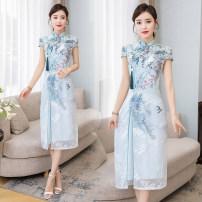 cheongsam Summer 2020 XXL,XXXL,M,L,XL blue Short sleeve long cheongsam ethnic style Low slit daily Oblique lapel Decor Embroidery 81% (inclusive) - 90% (inclusive)