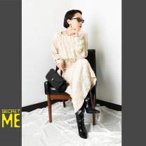 Dress Spring 2021 Champagne Vintage Design Goddess Dress Average size Short skirt singleton  Long sleeves V-neck High waist Socket routine camisole 25-29 years old Type A printing polyester fiber