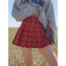 skirt Summer 2021 XS,S,M,L,XL gules Short skirt street High waist Pleated skirt lattice Type A 18-24 years old Wangnansheng Europe and America