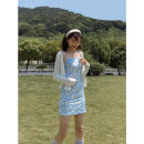 Dress Summer 2021 blue S,M,L Short skirt singleton  Sleeveless commute One word collar High waist Decor A-line skirt camisole 18-24 years old Type A Wangnansheng Retro