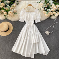 Dress Spring 2021 White, black, blue, green Average size Middle-skirt singleton  Short sleeve commute square neck High waist Solid color Socket A-line skirt routine Others 18-24 years old Type A Korean version 31% (inclusive) - 50% (inclusive) other other