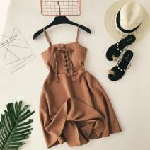 Dress Summer 2020 Average size Short skirt singleton  Sleeveless commute other High waist stripe zipper A-line skirt other camisole 18-24 years old Type A Korean version zipper 31% (inclusive) - 50% (inclusive) other other