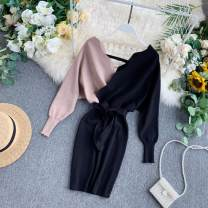 Dress Autumn of 2019 Average size Short skirt singleton  Long sleeves commute V-neck High waist other Socket other puff sleeve Others 18-24 years old Type A Korean version Splicing 31% (inclusive) - 50% (inclusive) Silk and satin other