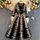 Dress Spring 2021 black S,M,L,XL,2XL Middle-skirt singleton  Long sleeves commute V-neck High waist Decor Socket Big swing routine Others 18-24 years old Type A Korean version 31% (inclusive) - 50% (inclusive) other other