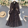 Dress Spring 2021 black Average size longuette singleton  Long sleeves commute Polo collar High waist other Single breasted A-line skirt puff sleeve Others 18-24 years old Type A Korean version 31% (inclusive) - 50% (inclusive) other other