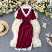 Dress Summer 2020 Black, pink, red, dark blue, green, khaki, brown, gray Average size Middle-skirt singleton  Short sleeve commute V-neck High waist Solid color Socket One pace skirt routine Others 18-24 years old Type X Korean version 31% (inclusive) - 50% (inclusive) other other