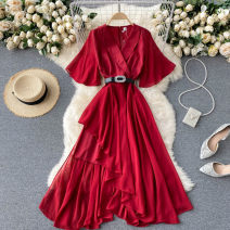 Dress Summer 2021 Black, red, green M,L,XL Mid length dress singleton  commute V-neck High waist Solid color Socket A-line skirt routine Others 18-24 years old Type A Korean version 31% (inclusive) - 50% (inclusive) other other
