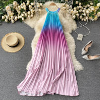 Dress Spring 2021 Dark green, red, yellow, purple, pink Average size Mid length dress singleton  commute Crew neck High waist other Socket Big swing routine Others 18-24 years old Type A Korean version 31% (inclusive) - 50% (inclusive) other other