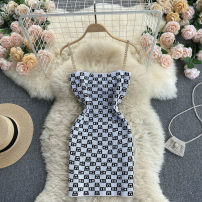 Dress Summer 2021 White, black Average size Short skirt singleton  commute square neck High waist Solid color Socket A-line skirt camisole 18-24 years old Type A Korean version 31% (inclusive) - 50% (inclusive) other other