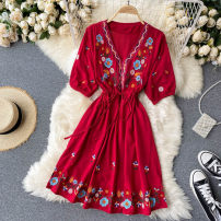 Dress Autumn 2020 Red, white, green, blue Average size Short skirt singleton  Long sleeves commute V-neck High waist Solid color Socket A-line skirt puff sleeve Others 18-24 years old Type A Korean version Embroidery, lace up 31% (inclusive) - 50% (inclusive) other other