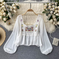 Lace / Chiffon Spring 2021 Apricot, white Average size Long sleeves commute Socket singleton  Self cultivation have cash less than that is registered in the accounts square neck Solid color puff sleeve 18-24 years old Ruffles , Embroidery , Gouhua hollow out Korean version