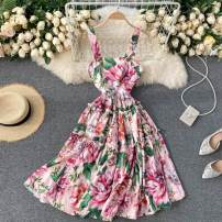 Dress Autumn 2020 Pink S,M,L,XL,2XL Short skirt singleton  commute square neck High waist Decor Socket Big swing camisole 18-24 years old Type A Korean version 31% (inclusive) - 50% (inclusive) other other
