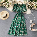 Dress Spring 2021 Black, green S, M Mid length dress singleton  Short sleeve commute V-neck High waist Decor Socket A-line skirt routine Others 18-24 years old Type A Korean version 31% (inclusive) - 50% (inclusive) other other