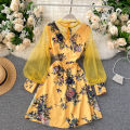 Dress Autumn 2020 Red, white, yellow, blue, pink Average size Short skirt singleton  Long sleeves commute V-neck High waist Decor Socket A-line skirt puff sleeve Others 18-24 years old Type A Korean version Splicing, mesh 31% (inclusive) - 50% (inclusive) other other
