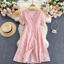 Dress Summer 2021 Average size Mid length dress singleton  Short sleeve commute V-neck High waist Solid color Single breasted A-line skirt puff sleeve Others 18-24 years old Type A Korean version 31% (inclusive) - 50% (inclusive) other other