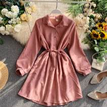 Dress Summer 2020 Apricot, blue, pink, red, brown, caramel Average size Short skirt singleton  Long sleeves commute Polo collar High waist Solid color Socket A-line skirt puff sleeve Others 18-24 years old Type A Korean version Lace up, button 31% (inclusive) - 50% (inclusive) other other