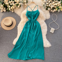 Dress Spring 2021 black , Apricot , red , yellow , Dark brown , Turquoise S,M,L Middle-skirt singleton  commute square neck High waist Solid color Socket Big swing camisole 18-24 years old Type A Korean version 31% (inclusive) - 50% (inclusive) other other