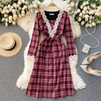 Dress Spring 2021 gules Average size Middle-skirt singleton  Long sleeves commute V-neck High waist lattice Socket A-line skirt routine Others 18-24 years old Type A Korean version 31% (inclusive) - 50% (inclusive) other other