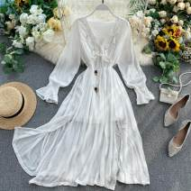 Dress Spring 2020 Average size Middle-skirt singleton  Long sleeves commute V-neck High waist Solid color Socket A-line skirt puff sleeve Others 18-24 years old Type A Korean version Fold, lace up 31% (inclusive) - 50% (inclusive) other other