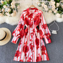 Dress Spring 2021 gules Average size Short skirt singleton  Long sleeves commute Polo collar High waist Decor Socket A-line skirt puff sleeve Others 18-24 years old Type A Korean version 31% (inclusive) - 50% (inclusive) other other