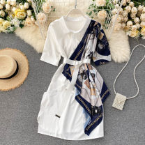 Dress Summer 2020 Black, white Average size Short skirt singleton  Short sleeve commute Polo collar High waist Solid color Single breasted A-line skirt puff sleeve Others 18-24 years old Type A Korean version belt 31% (inclusive) - 50% (inclusive) other other