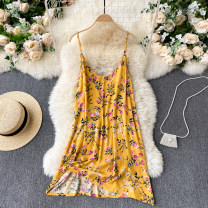 Dress Spring 2021 yellow S,M,L Short skirt singleton  commute V-neck High waist Decor Socket A-line skirt camisole 18-24 years old Type A Korean version 31% (inclusive) - 50% (inclusive) other other