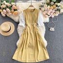 Dress Summer 2021 Yellow, apricot, pink Average size Middle-skirt singleton  Short sleeve commute Crew neck High waist Solid color Socket A-line skirt puff sleeve Others 18-24 years old Type A Korean version 31% (inclusive) - 50% (inclusive) other other
