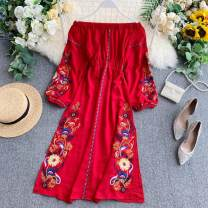 Dress Summer 2020 Black, red, white Average size Middle-skirt singleton  Long sleeves commute One word collar High waist other Socket A-line skirt puff sleeve Others 18-24 years old Type A Korean version Embroidery 31% (inclusive) - 50% (inclusive) other other