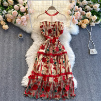 Dress Spring 2021 gules S,M,L,XL,2XL Short skirt singleton  Short sleeve commute Crew neck High waist Decor Socket A-line skirt routine Others 18-24 years old Type A Korean version 31% (inclusive) - 50% (inclusive) other other