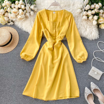 Dress Spring 2020 Black, light blue, red, yellow, light green, pink, orange, apricot Average size Middle-skirt singleton  Long sleeves square neck High waist Solid color Socket A-line skirt puff sleeve Others 18-24 years old Type A Button 31% (inclusive) - 50% (inclusive) other other