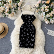 Dress Summer 2020 black Average size Short skirt singleton  commute square neck High waist Solid color Socket A-line skirt camisole 18-24 years old Type A Korean version 31% (inclusive) - 50% (inclusive) other other