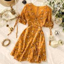 Dress Summer 2020 Yellow, pink S, M Short skirt singleton  Short sleeve commute V-neck High waist Broken flowers Socket A-line skirt puff sleeve Others 18-24 years old Type A Korean version 31% (inclusive) - 50% (inclusive) Chiffon other