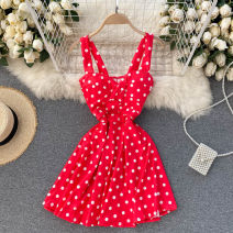 Dress Spring 2021 Black, white, red Average size singleton  commute square neck High waist Dot Socket A-line skirt Others 18-24 years old Type A Korean version 31% (inclusive) - 50% (inclusive) other other