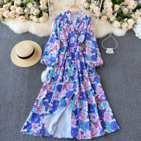Dress Spring 2021 Blue Pink Average size longuette singleton  Long sleeves commute V-neck High waist Decor Socket A-line skirt puff sleeve Others 18-24 years old Type A Korean version 31% (inclusive) - 50% (inclusive) other other