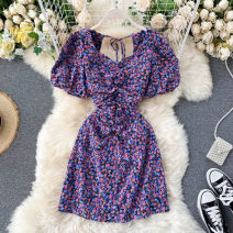 Dress Summer 2020 violet Average size Short skirt singleton  Short sleeve commute square neck High waist Broken flowers Socket A-line skirt puff sleeve Others 18-24 years old Type A Korean version 31% (inclusive) - 50% (inclusive) other other