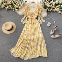Dress Spring 2021 Apricot, black, yellow, light green, light blue, pink Average size longuette singleton  commute V-neck High waist Decor Socket Pleated skirt Others 18-24 years old Type A Korean version 31% (inclusive) - 50% (inclusive) Chiffon other
