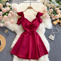 Dress Spring 2021 Black, apricot, red, green M,L,XL,2XL Short skirt singleton  commute square neck High waist Solid color Socket A-line skirt Others 18-24 years old Type A Korean version 31% (inclusive) - 50% (inclusive) other other
