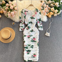 Dress Spring 2021 white M,L,XL,2XL Middle-skirt singleton  elbow sleeve commute square neck High waist Decor Socket A-line skirt routine Others 18-24 years old Type A Korean version 31% (inclusive) - 50% (inclusive) other other